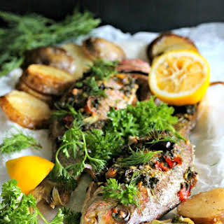 Whole Roasted Red Snapper with Potatoes.