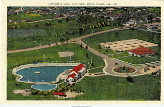 Photo: Color postcard of swimming pool, tennis facilities at City Park.  At upper right, the first block of Park Blvd.  The roundabout is still there, and what was the building for swimmers is now for art exhibits.