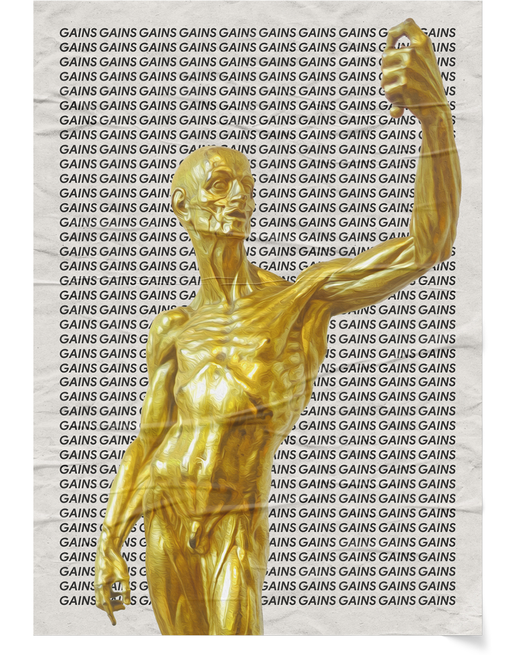 Golden statue of Muscleman by Jean-Antoine Houdon over black text on white backgound