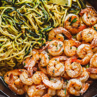 10-Minute Lemon Garlic Butter Shrimp with Zucchini Noodles.