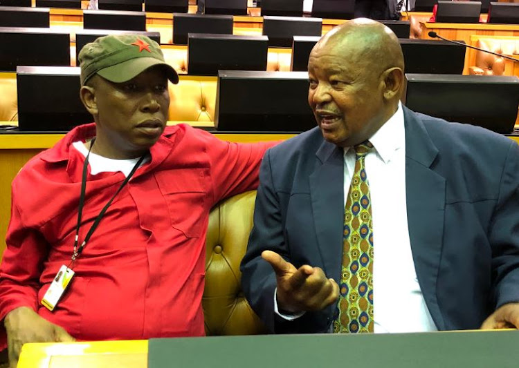 EFF leader Julius Malema and Cope leader Mosioua Lekota after making allegations against President Cyril Ramaphosa in Parliament.