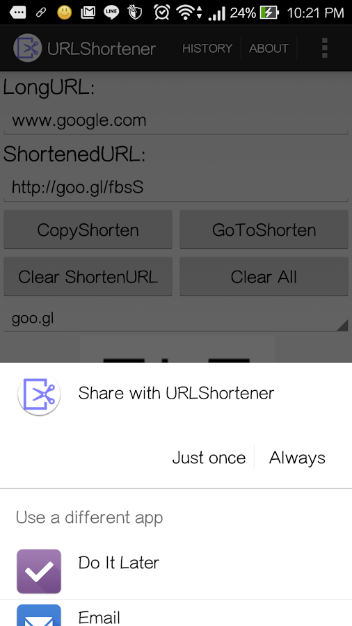 URLShortener- screenshot