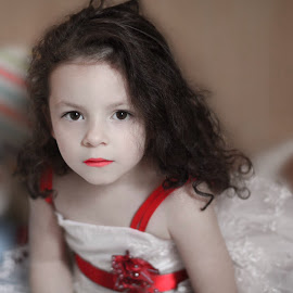 Snowhite by Edith Meniku - Babies & Children Child Portraits ( child girl red dress curly beautiful serious white,  )