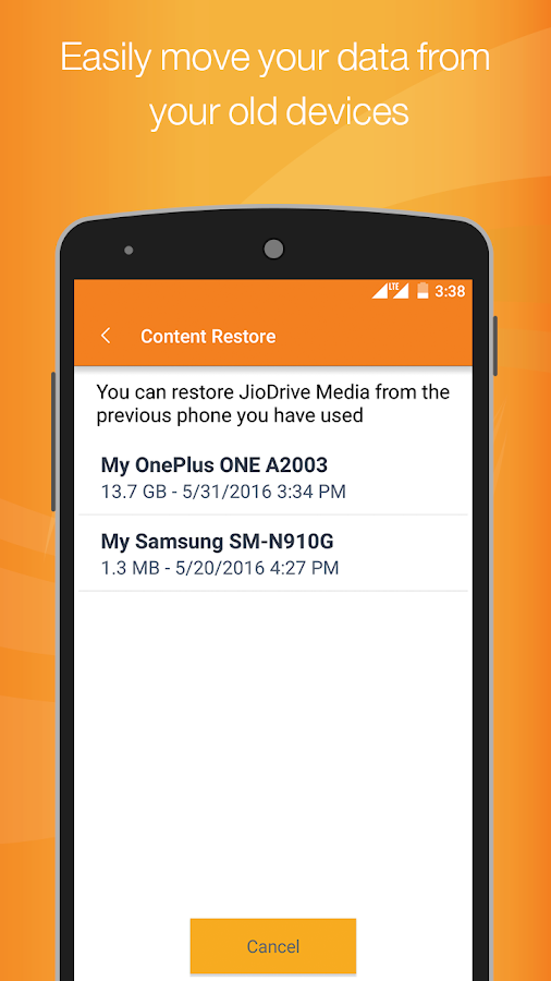 Screenshots of JioDrive for Android
