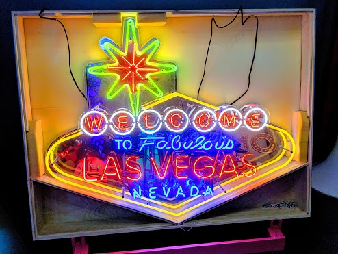 Rent props for you Las Vegas event, meeting, trade show or party.  This is By Dzign's neon Welcome to Las Vegas sign in it's case.  We rent themed props in Las Vegas.