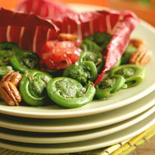 Fiddlehead Salad with Pickled Red Onions and Maple Toasted Pecans Recipe