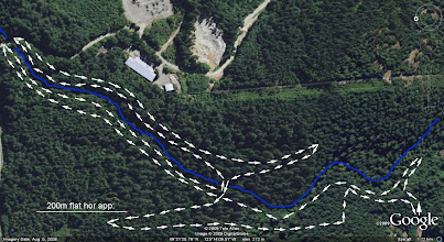 Photo: Blue = Cypress creek, Arrows = the trail I walked starting at south-west corner
