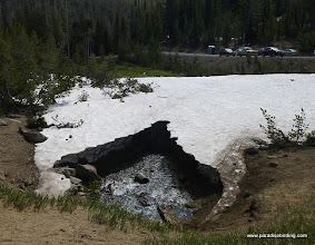 Photo: Three Creek, draining through the dam at Three Creek Lake.