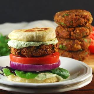 Vegan Tandoori Naan Burger With Coriander Raita.