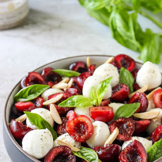 Cherry Caprese Salad with Toasted Almonds & Smoked Sea Salt.