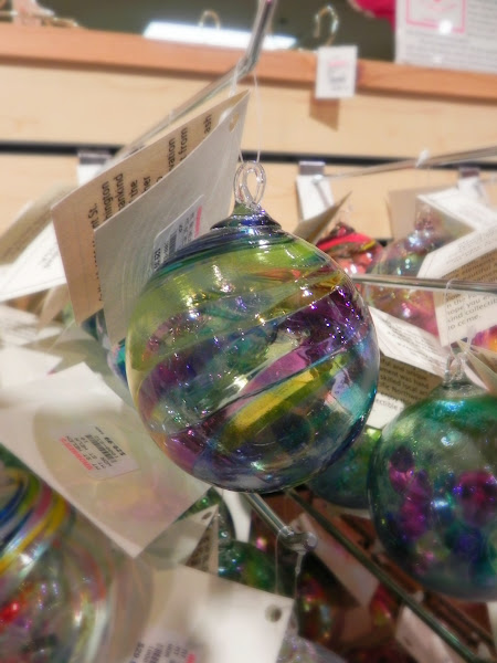 """Photo: The gorgeous hand-blown glass ornaments have such lovely colors. They are great for anyone who appreciates """"handmade."""""""