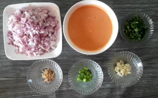Finely chop onion, ginger, garlic and green chili for making egg curry