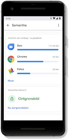 Scherm van een mobiel dashboard met het app-gebruik van een kind