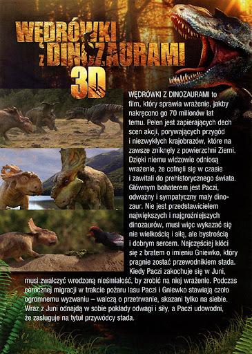 Tył ulotki filmu 'Wędrówki Z Dinozaurami'