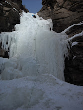 Photo: James setting the zipper for our climb out. Tons o' fun and some seldom climbed ice.