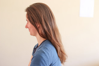 Photo: Spencer's first attempt at cutting Laura's hair.  Before.