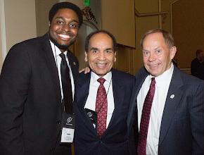 Photo: TX Kappa Chapter President Joseph Dowell, Distinguished Alumnus Delon Hampton, & TBP President (2006-14) Larry Simonson.