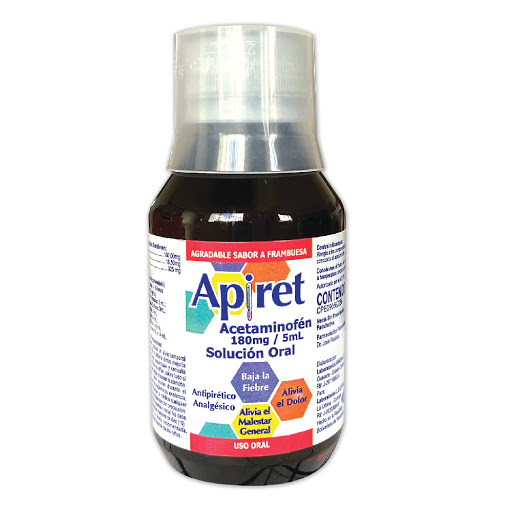 Acetaminofen jarabe Apiret 180mg/5ml Solucion 60ml