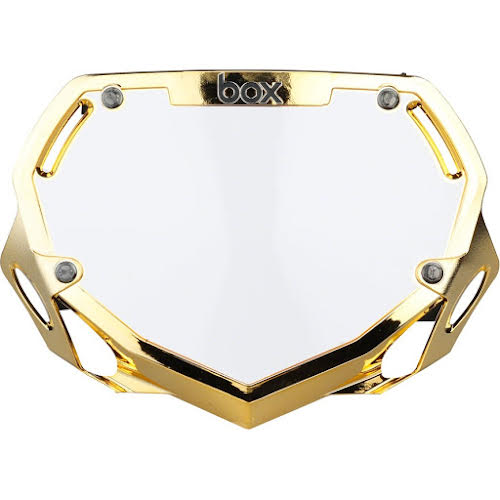 BOX Two Number Plate Small Gold Chrome