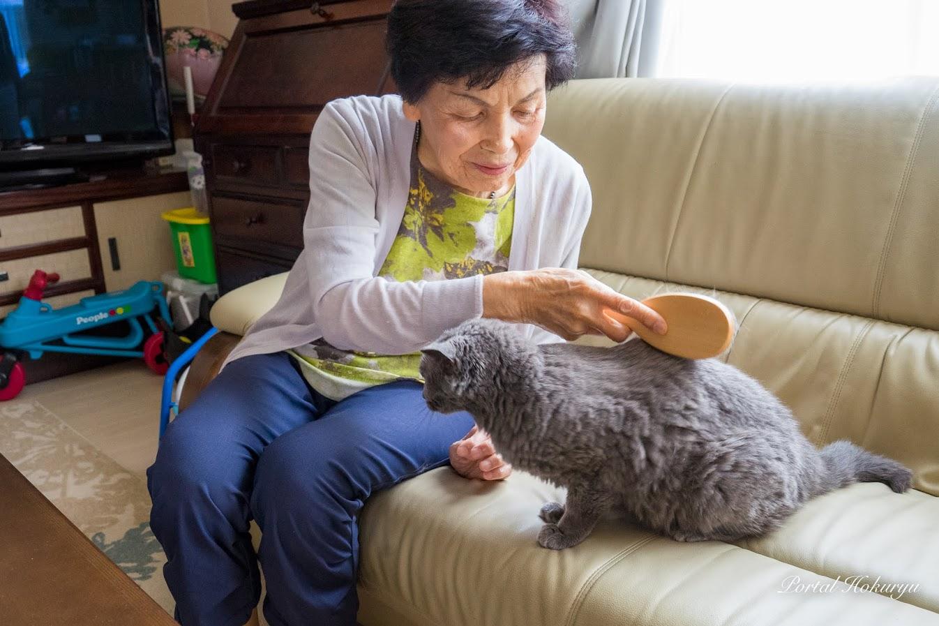 りつ子おばあちゃんのブラッシング