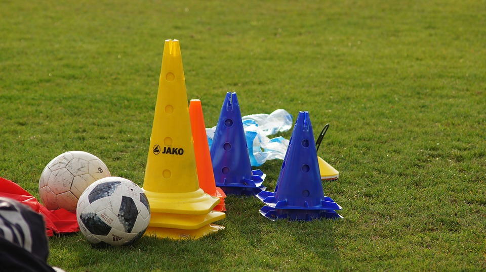Soccer training gear - soccer balls, cones and bibs