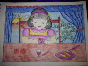 Photo: Siddhi-chan collection number 4, a girl taking a breakfast with boiled egg, apples and....? Thank you for enjoying my dear niece Siddhi-chan's gallery for four days. Expect she may be a budding designer in Japan or somewhere else one day ;) 30th November updated - http://jp.asksiddhi.in/daily_detail.php?id=378
