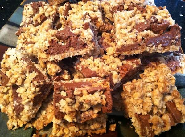 Oatmeal Crumble Chocolate Candy Cookie Bars Recipe
