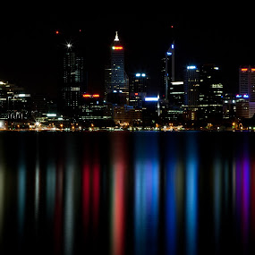 Reflecting On Perth by Gary Tindale - City,  Street & Park  Vistas ( perth wa, perth, night, city )