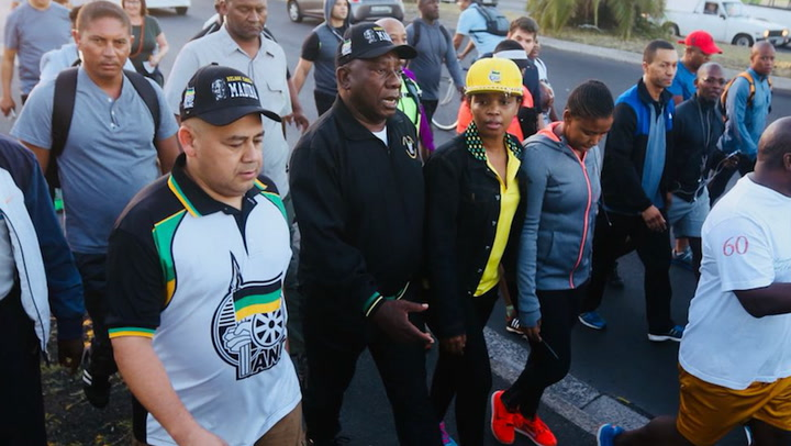 President Cyril Ramaphosa took on a 5km walk from Gugulethu to Athlone on February 20 2018.