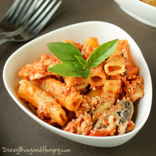 Slow Cooker Baked Ziti With Mushrooms and Spinach