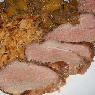 Pork Tenderloin with Mango-Soy-Ginger marinade.