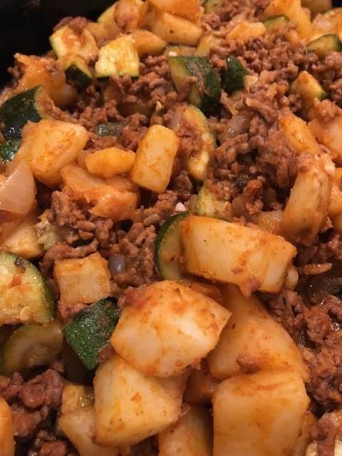 Beefy Potato Zucchini Dinner