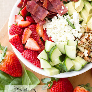 Strawberry, Avocado, & Bacon Spinach Salad.