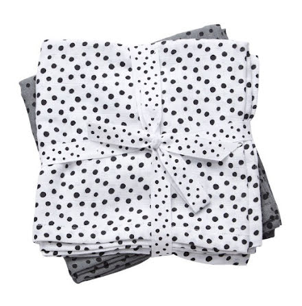 Done By Deer Swaddlefilt, Happy Dots, Grey 2-pack