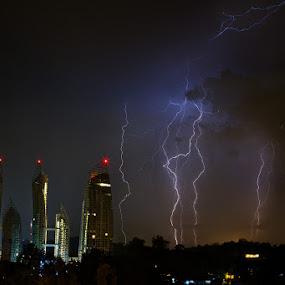 The Lightning Strike by Joseph Goh Meng Huat - Landscapes Weather ( lightning, raining, nature, weather, joseph goh meng huat, telok blangah street 13, landscape, rain, the lightning strike. singapore )