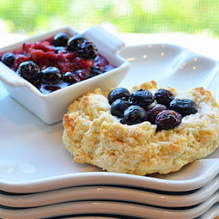 Buttermilk Blueberry Scone Cookies (Scookies) with Mixed Berry Sauce