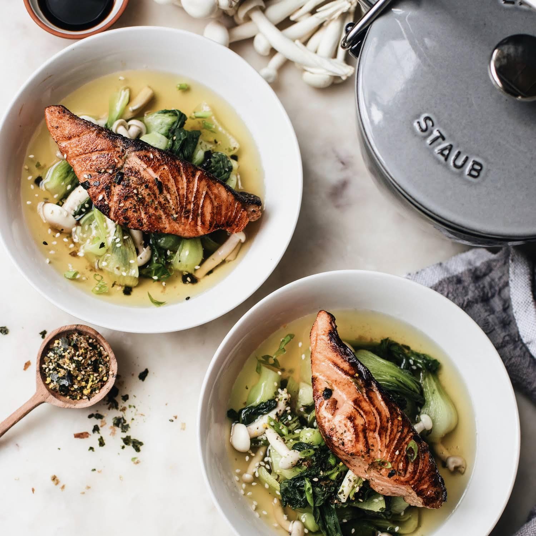 Seared Salmon & Vegetables with Green Tea Dashi