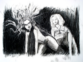 "Photo: Medusa (sketch 2), 2012, 12"" x 17"", charcoal on primed canvas sheet."
