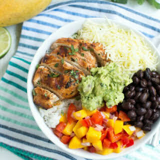 Chipotle Lime Chicken Taco Bowl with Mango Chipotle Sauce.