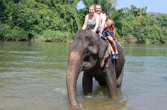 """Photo: About an hour from the temple we got to """"bathe"""" the elephants.  This begins with a (bareback) ride to the river...."""
