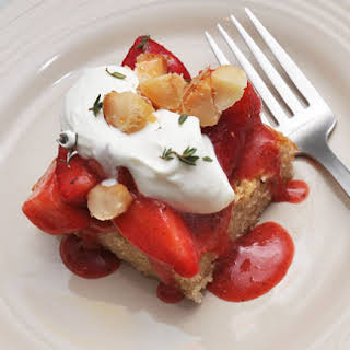 Brown Butter Cake with Strawberries and Sweet-and-Salty Macadamia Nuts.