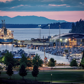 Jervis Bay by Scott Wood - Buildings & Architecture Other Exteriors ( port, building, park, puget sound, ship, twilight, boats, olympia, washington, sunset, trees, summer, marina, evening, downtown,  )