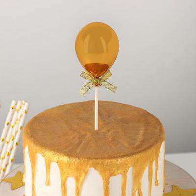 Топпер на торт «Шар», 19×5 см, цвет золотой
