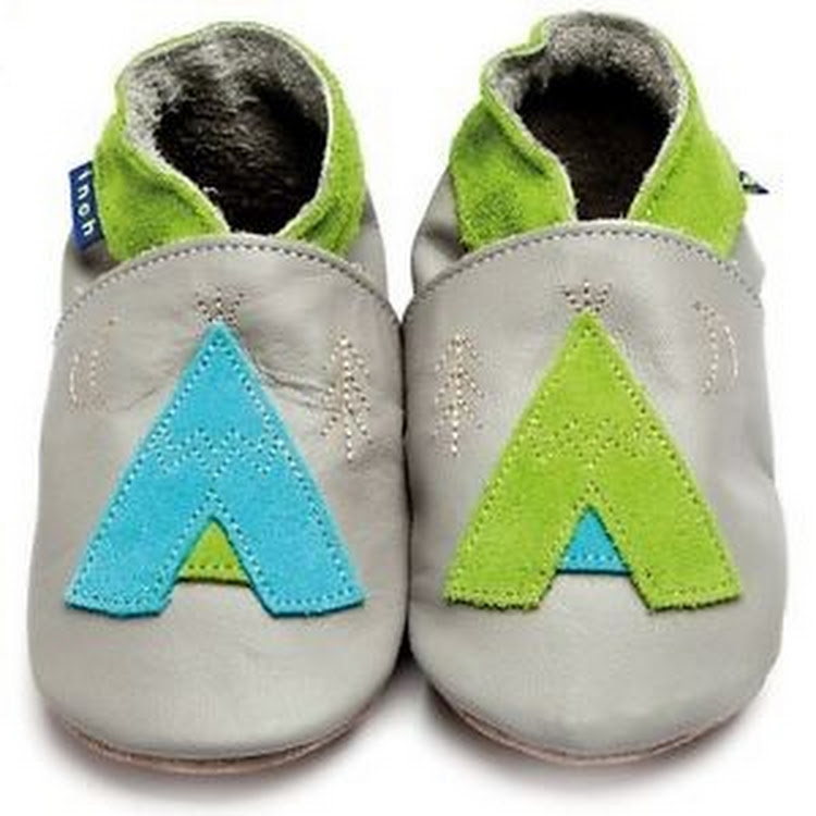 Inch Blue Soft Sole Leather Shoes - Teepee Grey (18-24 months) by Berry Wonderful