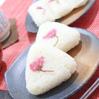 Pickled Sakura Onigiri made with Tasty Homemade Soup Stock