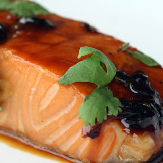 Maple and Soy-Glazed Salmon with Garlic and Ginger.