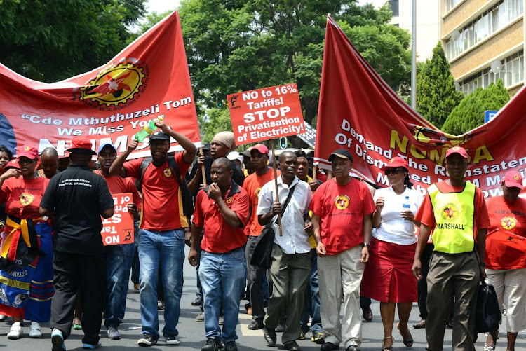 National Union of Metalworkers of SA members protest in Pretoria. Picture: ARNOLD PRONTO