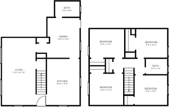 Go to Four Bed, 1.5 Bath Townhome Floorplan page.