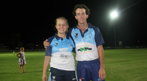 Town Heat junior captain Allyssa Ford with Town Heat senior captain Nick Smart. Town did the double, winning in both matches.