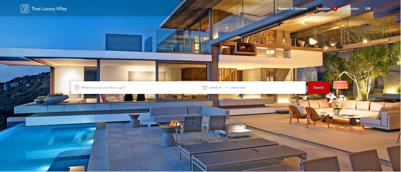 Screenshot of True Luxury Villa Website/
